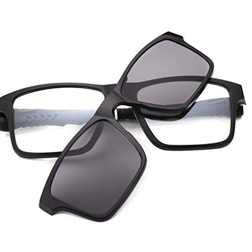 Huashao Retro polarisierte tragbare Sonnenbrille mit hängendem Hals, Magnet-Set für Reitbrillen mit Spiegel-Myopie-Rahmen