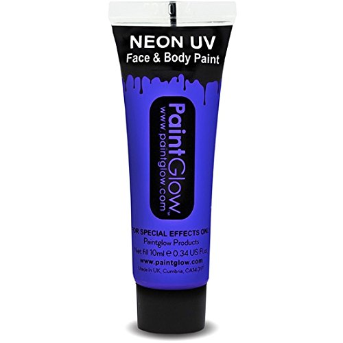 NET TOYS UV Makeup Körperfarbe Schwarzlicht Schminke Gesichtsfarbe 10 ml blau Neon Bodypaint Farbe Fluoreszierende Neonfarbe