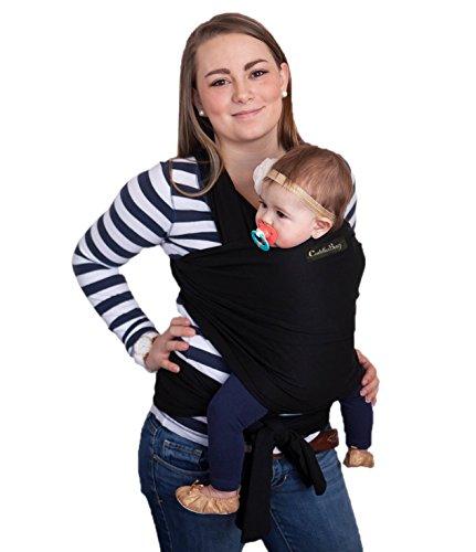Babytragetuch - CuddleBug Baby Wrap - mit Gratisversand - Baby Carrier Sling - tragetuch baby (Schwarz)