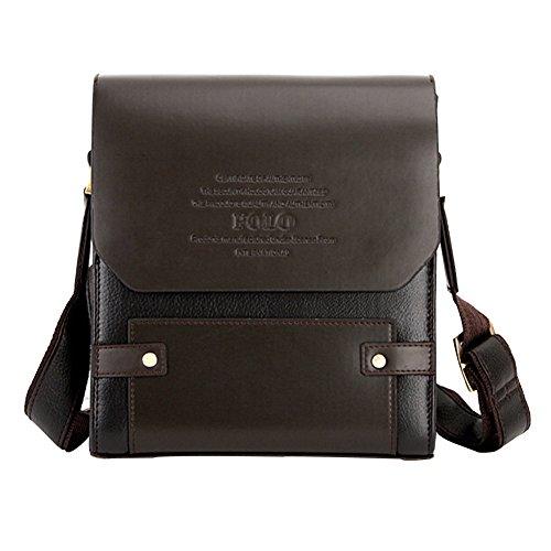 MissFox Herren Geschäft Tasche Vertikale und Horizontale Umhängetasche mit Verdeckter Knopf Braun Vertikal Groß