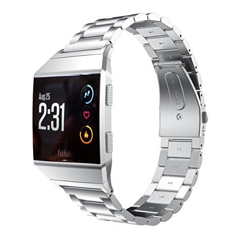 Aimtel Kompatibel mit Fitbit Ionic Armband, Metall Solide Edelstahl Ersatzarmband mit Link Removal Kit Kompatibel mit Fitbit Ionic (Silber)