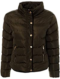 5d97cac1c3 Womens Ladies Padded Quilted Puffer Winter Coat Bommer Jacket Parka Khaki Black  womens winter warm…