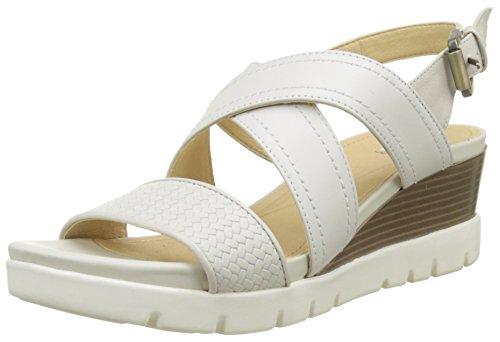 Geox D Marykarmen Plus B, Sandalias con Plataforma Plana para Mujer, Blanco (Off White), 40 EU