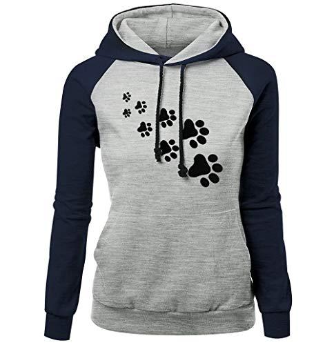 iHENGH Sweatshirt Damen,Women Herbst Mode Plus GrößE Langä Rmeldruck Pocket Hooded Neck Bluse Tops Clearance Sale