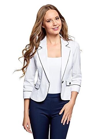 oodji Ultra Femme Veste en Coton avec Finition Contrastante, Blanc, FR 44 / XL