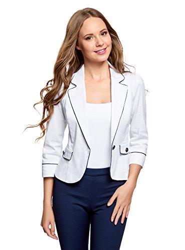 oodji Ultra Damen Baumwoll-Blazer mit Kontrastbesatz, Weiß, DE 40 / EU 42 / L (Baumwolle Mit Drei-knopf-blazer)