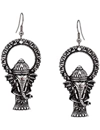 CARDINAL Mirror Oxidised Silver Brass Traditional Earring for Women