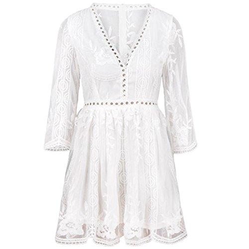 eid, Kleider Partykleid Faltenrock Abendkleid - Frauen Spitze Panel Stickerei Sexy V-Ausschnitt Kurzarm Openwork Kleid (L, Weiß) ()