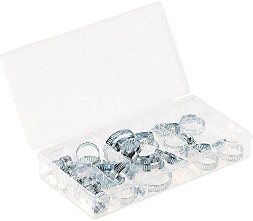 AGT Sortiment Kleinteilebox: Sortimentskasten Schlauchschellen in 5 Größen, 26-teilig (Kleinteilemagazin)