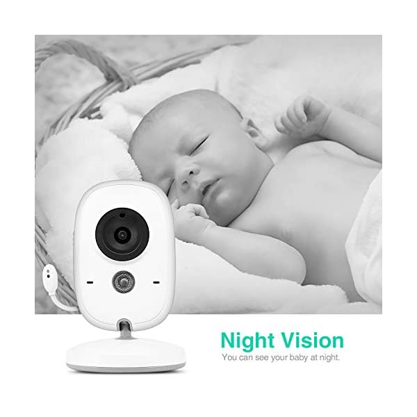 Baby Monitor with Camera, BOIFUN with 3.2'' LCD Screen 300 Meters 2.4Ghz Wireless Stable Connection Rechargeable Battery VOX Night Vision Temperature Monitor Two-Way Talk Baby/Elderly/Pet BOIFUN 🐻 【Fantastic Picture even in Night Vision Mode】 --- Clear picture quality, even in night vision mode, you can see the baby's subtle movements, intellegent infrared night vision, 2-5 meters distance, automatically switch to night vision mode when the light drops, automatically recover after the light is brightened. 🐻 【Highly clear Two-Way Talk Quality】 --- High quality sound and real time two way talk, Respond promptly when your baby needs you, let the baby know that you are always with him. 🐻 【Enhanced temperature monitoring】---Real time and precise baby monitor sensor, the error does not exceed 1°C. It is our responsibility to help you know the temperature of your baby's room and assist you keep baby comfortable at all time. 2