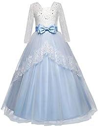 Feicuan Vestido Fiesta niña de Princesa de Encaje Bowknot Largos Vestidos Boda Pompa Vestido de Bola