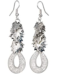 THE BLING STUDIO -Silver Tone Mesh Tube Leaf Drop Earrings (BS7E31)