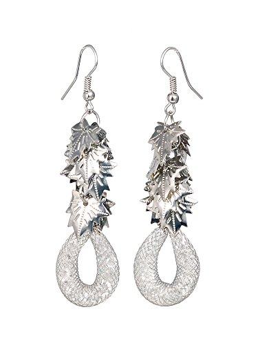 THE BLING STUDIO -Silver Tone Mesh Tube Leaf Drop Earrings (BS7E31)