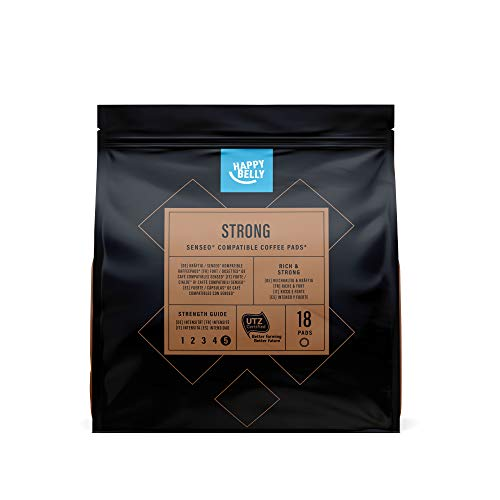 Amazon-Marke: Happy Belly Kaffee-Pads Strong kompatibel mit Senseo* - UTZ zertifiziert 90 Pads (5x18 )