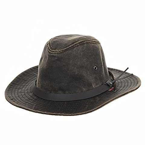 WITHMOONS Chapeau de Western Cowboy Indiana Jones Hat Weathered Faux Leather Outback Hat AL8343 (Brown)