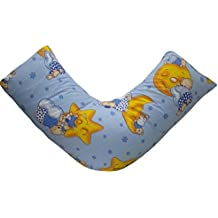 GC de ropa 100% algodón egipcio percal Sunny osos y estrellas azul/amarillo V forma de almohada para espalda y cuello apoyo, ortopédica, embarazo, ...