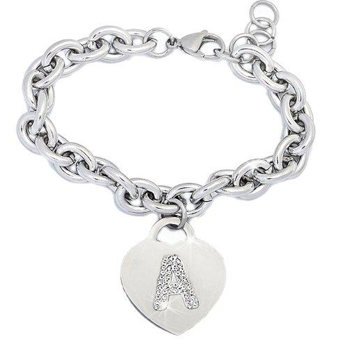 Beloved ❤️ Braccialetto donna con cristalli acciaio con lettera bracciale con iniziale charm cuore e cristalli argento alfabeto misura regolabile