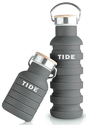 Faltbare Design Trinkflasche 550ml aus Silikon mit Holzdeckel für Reisen, Camping & Sport - Auslaufsichere, leichte und flexible Flasche (Wasserflasche) - BPA Frei