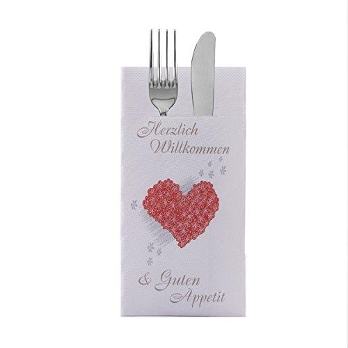 Sovie HORECA Besteckserviette Herzlich Willkommen | Tissue Deluxe® 4-lagig | 40x40 cm 100 Stück | Hotel Veranstaltung Hochzeit