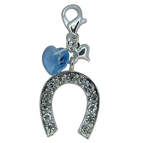 Handmade Wedding Gift for the Bride - Large Silver & Crystal Inset Horseshoe Pendant with attached Something Blue Swarovski Elements Aqua Marine Heart Charm - Gift Boxed