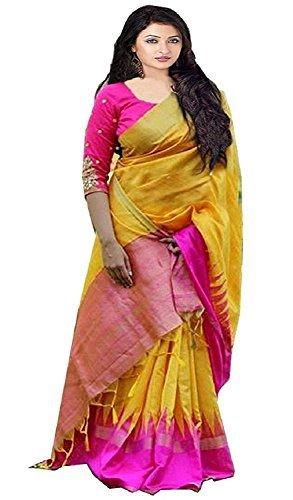 Bolly Lounge Sarees Women\'s Bhagalpuri Art Silk Partywear Saree With Designer Blouse Piece (Bl_Yellow Pink Crekal_Bollywood_Yellow sarees )