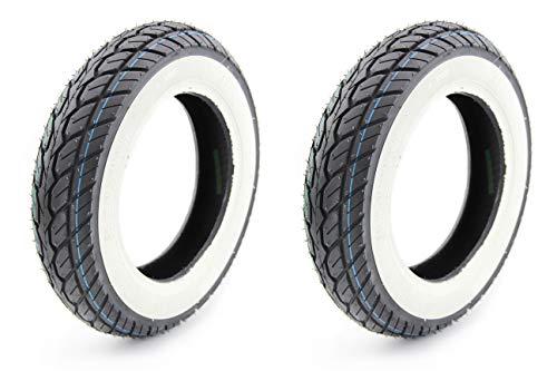 BISOMO 2 Weißwand Reifen - K418-3,50-10 TL 51J Rollerreifen für Piaggio Vespa