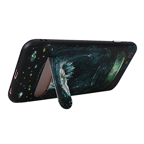 Coque iPhone 6/6S Hybrid Case avec Construit à Support, Moon mood® Housse de Protection pour Apple iPhone 6S Coque Silicone TPU Bumper et Plastique PC Rigide Arrière Étui Cas Protecteur Supporter Kick Style 1