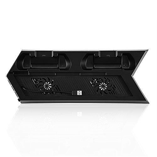 Zerone PS4 Lüfter Kühler Smart Thermostat Lüfter Dual Ladestation Dock Stand mit 3 Ports USB Hub(schwarz) - Integrierter Thermostat