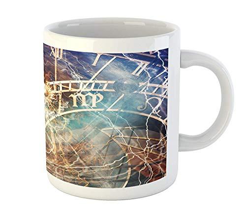 Rongpona tazza di astrologia, design da viaggio antica città vecchia di praga oroscopo orologio repubblica ceca stampa artistica, tazza da caffè di ceramica stampata acqua tea drinks cup, multicolore