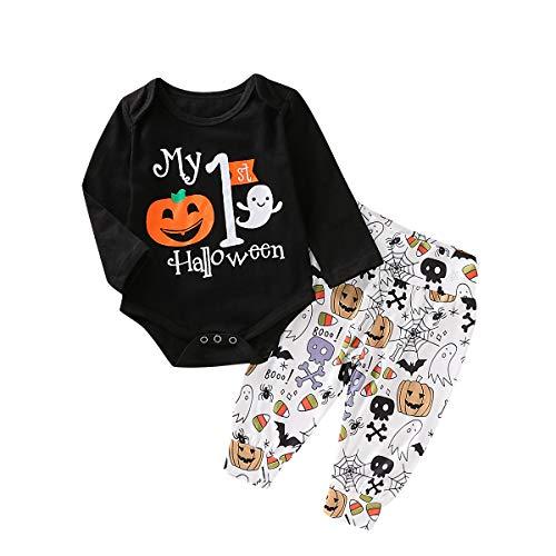 Baby Mädchen Jungen Halloween Outfits Set Langarm Brief Strampler Bodysuit Footies Floral Hosen Hut 3 Stück Baumwolle Kleidung Set für 0-18 Monate (0-3 M, schwarz 4)