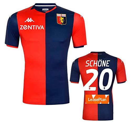 Kappa Italia Genoa Camiseta Schone auténtica Gara Home 2019-20 Slim Fit, Rosso-BLU, M