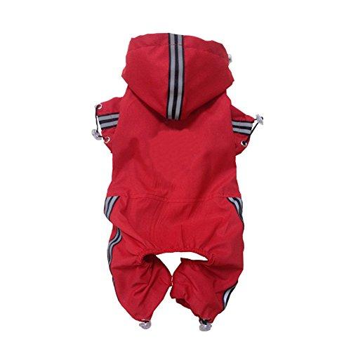 Desconocido Chubasquero con capucha y rayas reflectantes seguras, cubierta de cuerpo y piernas, chubasquero impermeable para perros pequeños, medianos y grandes