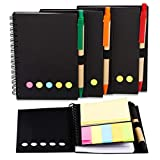 Carnet Cahier à Spirales 4 pack couverture en papier Kraft Steno journal bloc-notes de poche avec stylo et Kawaii Notes autocollantes mignonnes Bloc-notes Mémo pour Travail de bureau d'école(Black)