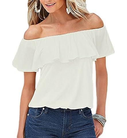 Smile YKK Chemise Bustier Femme T-shirt Epaule Nue Blouse Top Manches Courtes Soirée Cocktail Mode Blanc