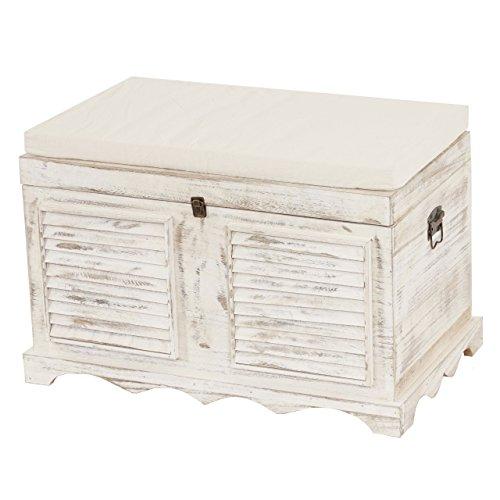 Serie vintage baule contenitore cassapanca legno paulonia 45x76x50cm ~ bianco