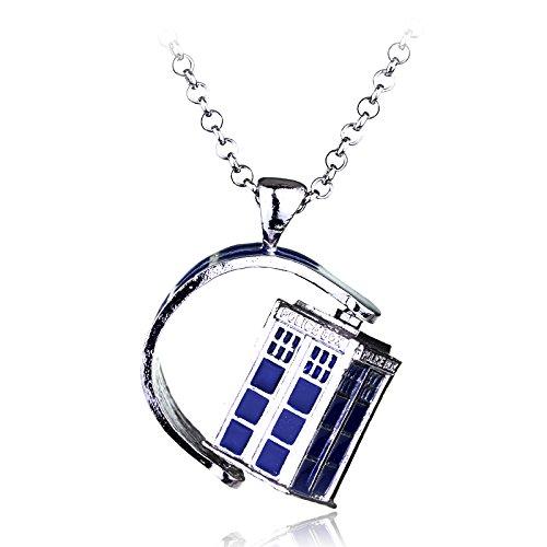 Police Box House Alloy Pendant Doctor Who Necklace Halloween Pendants Film Schmuck Xmas Gift ()