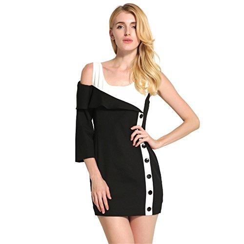 JOTHIN Damen Einfarbige Sommerkleid Minikleid Partyleid Bleistiftrock  Business Bodycon Kleid Schwarz