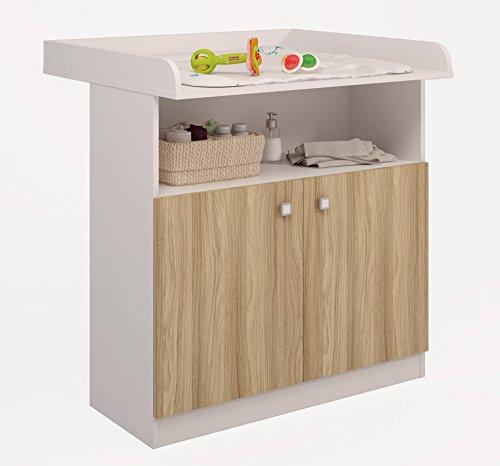 Preisvergleich Produktbild Polini Kids Kommode Wickelkommode Wickeltisch Simple 1490 in verschiedenen Farbkombinationen (weiß eiche)