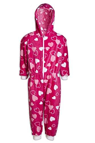 Camille - pigiama intero bambini - in pile con cappuccio - stampa a cuori - rosa 6-8 years