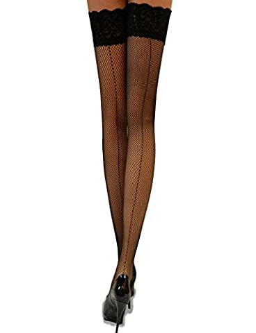 Yummy Bee Black Fishnet Hold Up Stockings Lace Top Back Seam Silicon Stay Ups Thigh (Calze Giarrettiera Bretella)