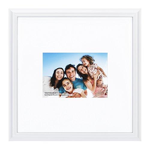 10,2x 15,2cm Bilderrahmen aus massivem Holz Und High Definition Glas für Tisch klappbar und Wandmontage Bilderrahmen, holz, White-line Edge, 11x11mat5x7 -