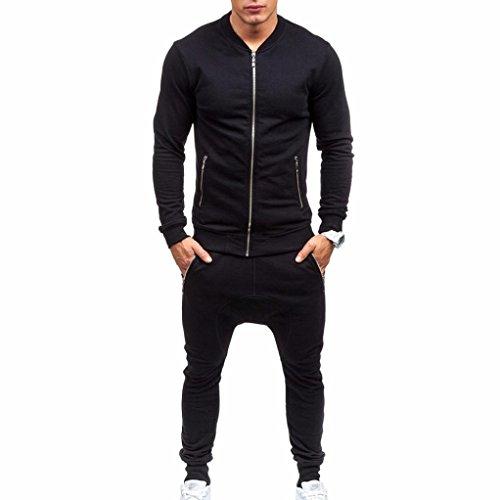 Ashop abbigliamento uomo, felpa uomo invernale, tuta sportiva da uomo in pile caldo con cappuccio sportivo felpa con cappuccio e pantaloni tuta in felpa (l, nero)