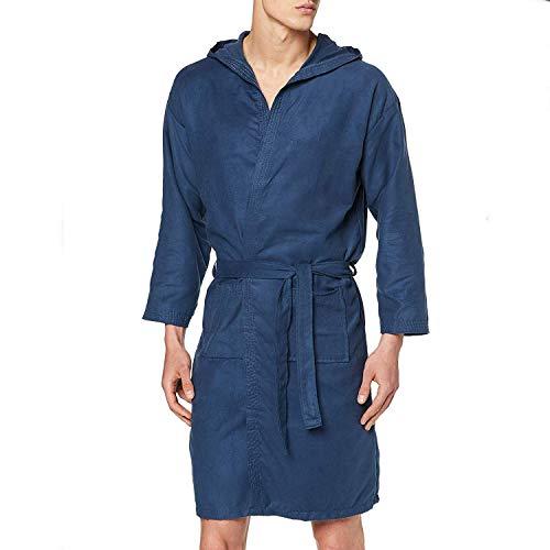 PETTI Artigiani Italiani - Albornoz, Albornoz Hombre, Albornoz Mujer, Albornoz de Microfibra Azul Noche L, con bolsillos, capucha y cinturón.