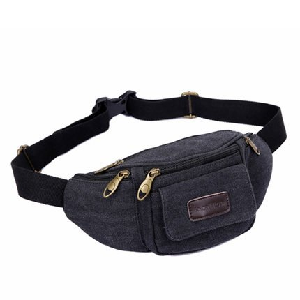 Leinwand Fanny Pack Travel Gürteltasche Hip Handtasche Gürteltasche Bauchtasche Taille Tasche Ideal für Reisen oder den täglichen Gebrauch schwarz - schwarz
