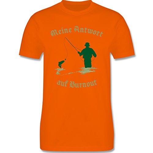 Angeln - Meine Antwort auf Burnout - Herren Premium T-Shirt Orange