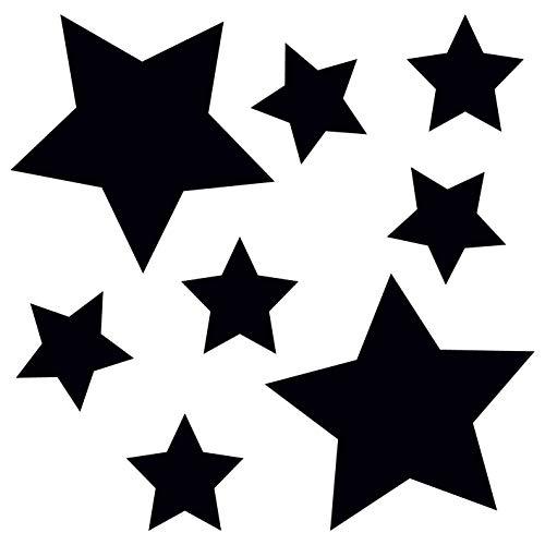 Fenster-schwarz-glas-tür (kleb-Drauf®   8 Sterne   Schwarz - matt   Wandtattoo Wandaufkleber Wandsticker Aufkleber Sticker   Wohnzimmer Schlafzimmer Kinderzimmer Küche Bad   Deko Wände Glas Fenster Tür Fliese)