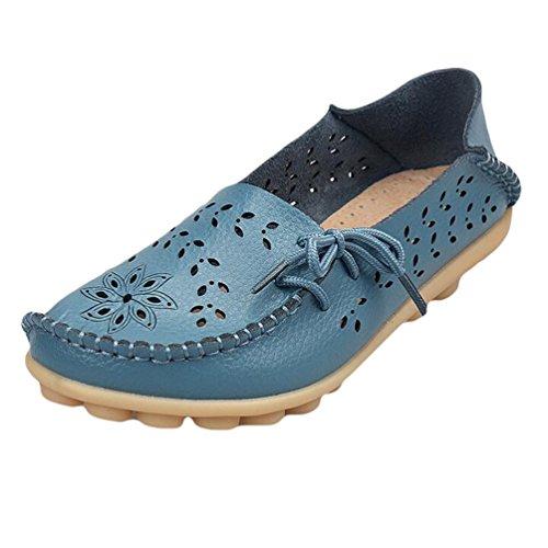 Heheja Damen Hohl Flache Schuhe Low-top Freizeit Loafers Casual Mokassin Hell Blau