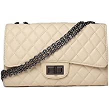 HandbagCrave® Envy Cadena de oro acolchada / Plata Hardware de cadena Bolsos bandolera Bolso de embrague (Beige - Plata)