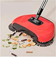 EXSESON Sweep Drag All-in-One Household Hand Push Rotating Sweeping Broom, Dust Mop Set (Multicolour, Medium)