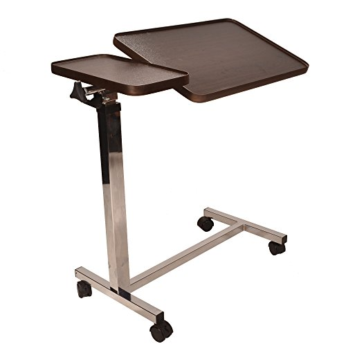 Deluxe twin top over bed table adjustable height and angle, raises with just 1 finger